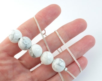 white marble and silver necklace, modern geometric necklace with magnesite beads, white howliet necklace