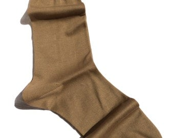 Luxury Dress Socks %100 Cotton Fine Casual Dress Beige Socks Solid