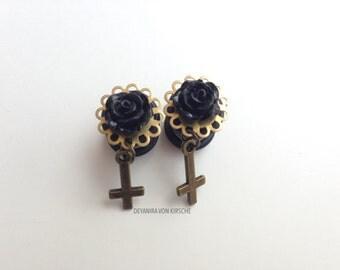 Black Rose + inverted Cross
