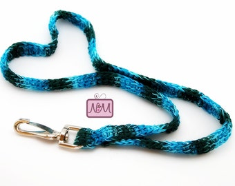 Crochet Retro Woven Lanyard ID Badge Holder, Turquoise Mix Colour, Swing Clip, Crochet Lanyard, Gifts For Her, Gifts For Him, Aqua