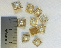 Vintage Swarovski Crystal Square Pearl Button with Gold Metal Rhinestone Rim.Sold by the set of 10 Buttons. Crystal Pearl Square Rhinestone.