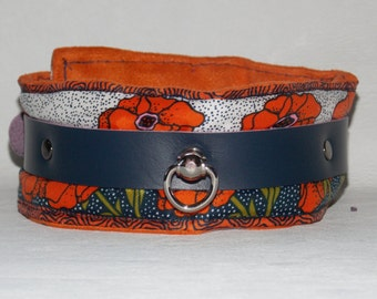 Silk Poppy Print Collar with Blue Lamb Skin Strapping