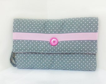 Gray andf Pink Changing Pad Travel Clutch
