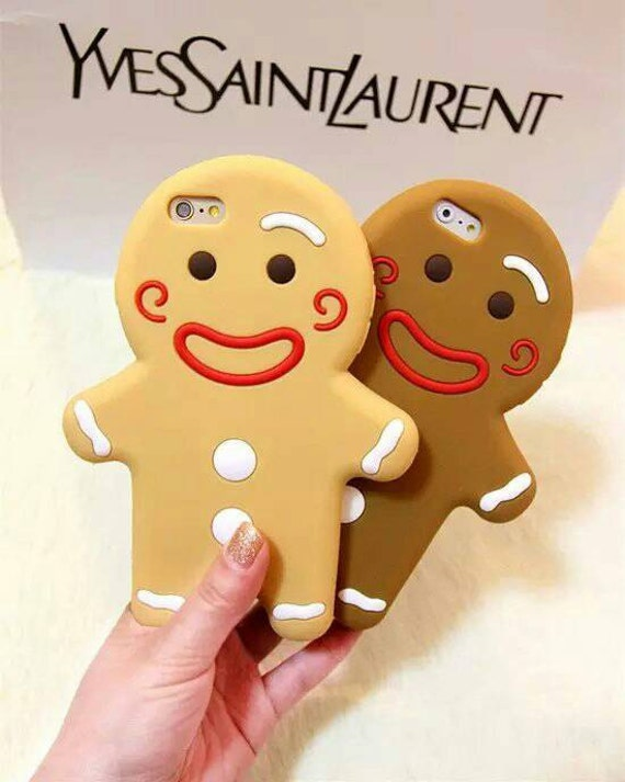 Gingerbread Man Biscuit Cookie Christmas Soft Silicon iPhone 5 5S 6 Phone Case