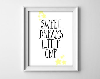 "INSTANT DOWNLOAD 8X10"" printable digital art - Sweet Dreams Little One - Nursery wall art - Black and yellow - Baby - Shower gift - Stars"