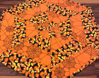 Halloween Spider Web Mat Candy Corn Quilted Centerpiece Table Topper Runner Homemade Quilt Quilted in Orange and Black
