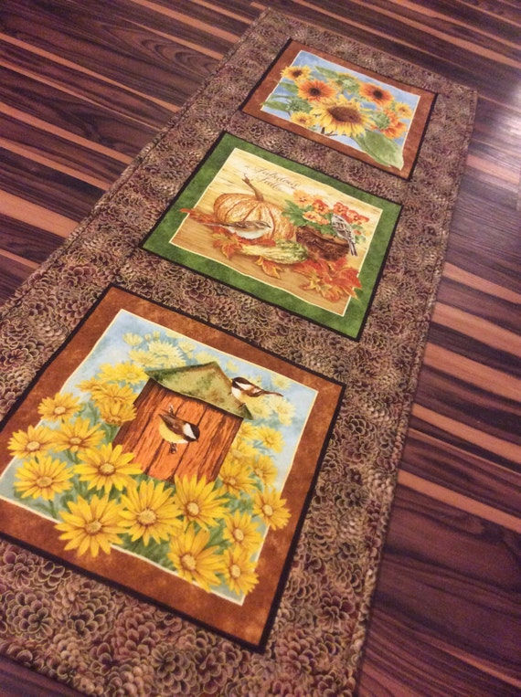 Thanksgiving Quilted Table Runner Patterns : Fall Quilted Table Runner Autumn Theme Fabric Table Topper