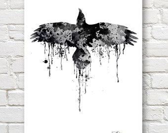 Raven Art Print - Abstract Watercolor Painting - Wall Decor