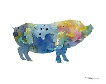 Pot Bellied Pig Art Print - Abstract Watercolor Painting - Wall Decor