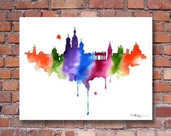 St. Petersburg Skyline - Abstract Watercolor - Russia Art Print - Wall Decor