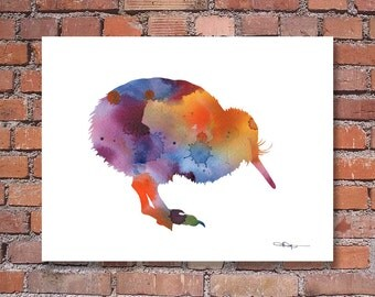 Kiwi Bird Art Print - Abstract Watercolor Painting - Wall Decor