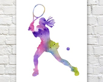 Tennis Player Art Print - Abstract Watercolor Painting - Wall Decor