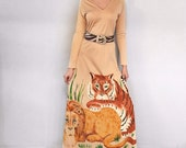 VTG 1970's Saks Fifth Ave Young Dimensions Hand Painted Tiger & Lion, Jungle Painting Dress