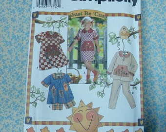 Simplicity #7019 Vintage Sewing Pattern, Girls Dress, Top, Pants and Shorts, sizes 3 - 6, UNCUT