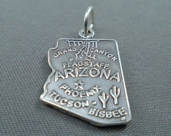 STERLING SILVER State of Arizona Charm for Charm Bracelet