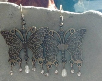 Vintage BUTTERFLY TOTEM Earrings- with baby pearls, handmade, unusual, boho, zen, nature, butterfly totem, whimsy, vintage look, 22.00US
