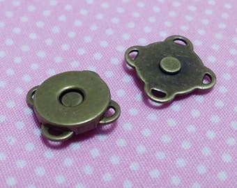 10 Pcs. 10 mm Floral Magnetic Button, Anitque Brass Plated Metal Magnetic Snaps Closures with 4-loops