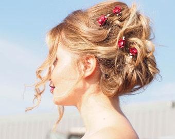 Blossom Hair Pins, Deep Red Cherry Blossom Hair pins, burgundy blossom hair pins, deep red hair pins, burgundy hair pins clips