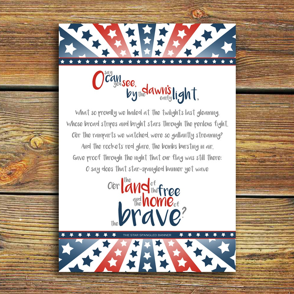 This is a graphic of Universal Star Spangled Banner Lyrics Printable