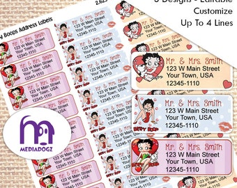 Betty Boop Return Address Mailing Label Instant Download Print From Home or We Print