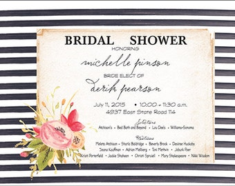 Beautiful Floral Bridal Invitation