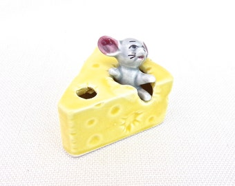 Ceramic Mouse in a Piece of Cheese Toothpick Holder - Made in Japan - Vintage Ornament - Retro Home Decor - Kitsch Figurine