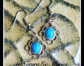 Gold Filigree Dyed Howlite Turquoise Drop Dangle Earring Set
