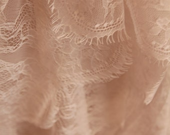 A Dance of Cotton and Lace, Airlight Fairy Shawl in Softest Peachy Cream