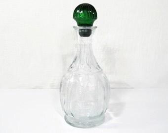 Avon WIne Decanter - Emerald Green & Clear Beaded Glass