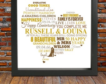 50th wedding anniversary - Golden wedding anniversary, 50th wedding anniversary gift, 50th anniversary gift