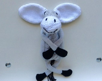 Plush retro grey donkey with its cables soft