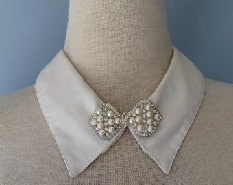 Detachable White Collar/Collar Necklace/White Embellished Collar/Bowtie/
