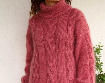 New Hand Knitted Mohair Sweater,Old Rose, Thick and Fuzzy Pullover,Handmade