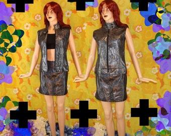 Pewter/Black Metallic Snakeskin PVC Mini Skirt/Vest Set *90s* Small Cyber Goth Punk Tech Hacker Club Kid Futuristic Pleather Zipper 2 Piece