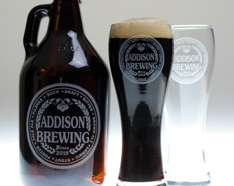 HomeBrew Growler and 2 Glasses with  Brewing with Beer names Label Design. Homebrew, Beer, Beer Gift, Beer Glass, fathers day gift,