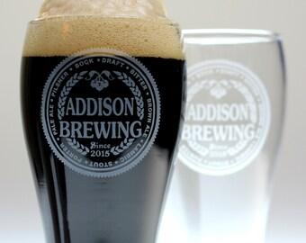 Custom Brewing Beer Names Beer glasses (set of 2). Homebrew, , logo art, brew art, Beer Glass, Beer Gift, Beer
