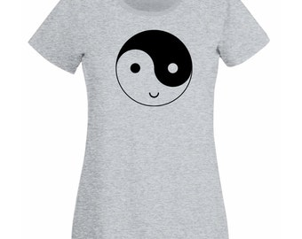 Womens T-Shirt with Yin and Yang Symbol Happy Face Design / Smile Ethical Symbol Shirts / Funny YingYang TShirt + Free Decal Gift