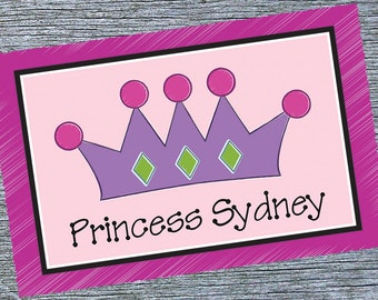 Girls Personalized Placemat, Pink Princess Crown Placemat, Custom Girls Placemat, Little Princess Theme Birthday or Newborn Gift