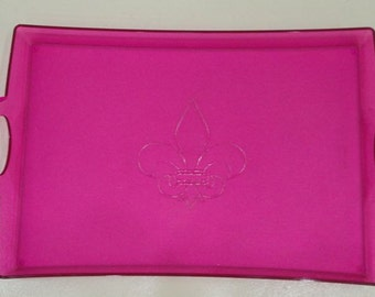 Tray, Fleur de lis center Icon, Textured Acrylic, Hot Pink,  Personalized/Monogrammed - Laser Engraved