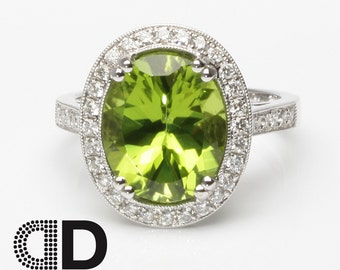 5.01ct Peridot Engagement Ring in 18K Solid White Gold - DR2033