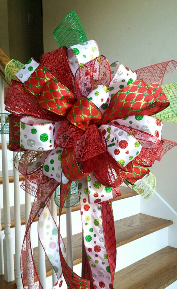 christmas tree topper holiday deluxe three ribbon christmas. Black Bedroom Furniture Sets. Home Design Ideas