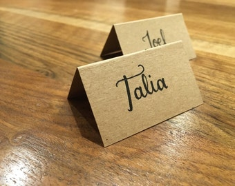 Rustic Handwritten Calligraphy Place Cards