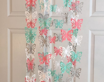 Butterfly mobile Coral, white, fresh green and gray or you can CHOOSE YOUR COLORS! nursery mobile, paper mobile, baby mobile, butterflies
