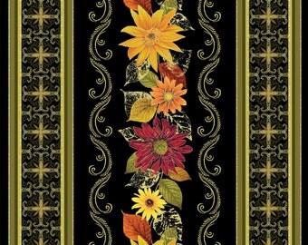 Autumn Splendor Black Stripe by KANVAS for Benartex