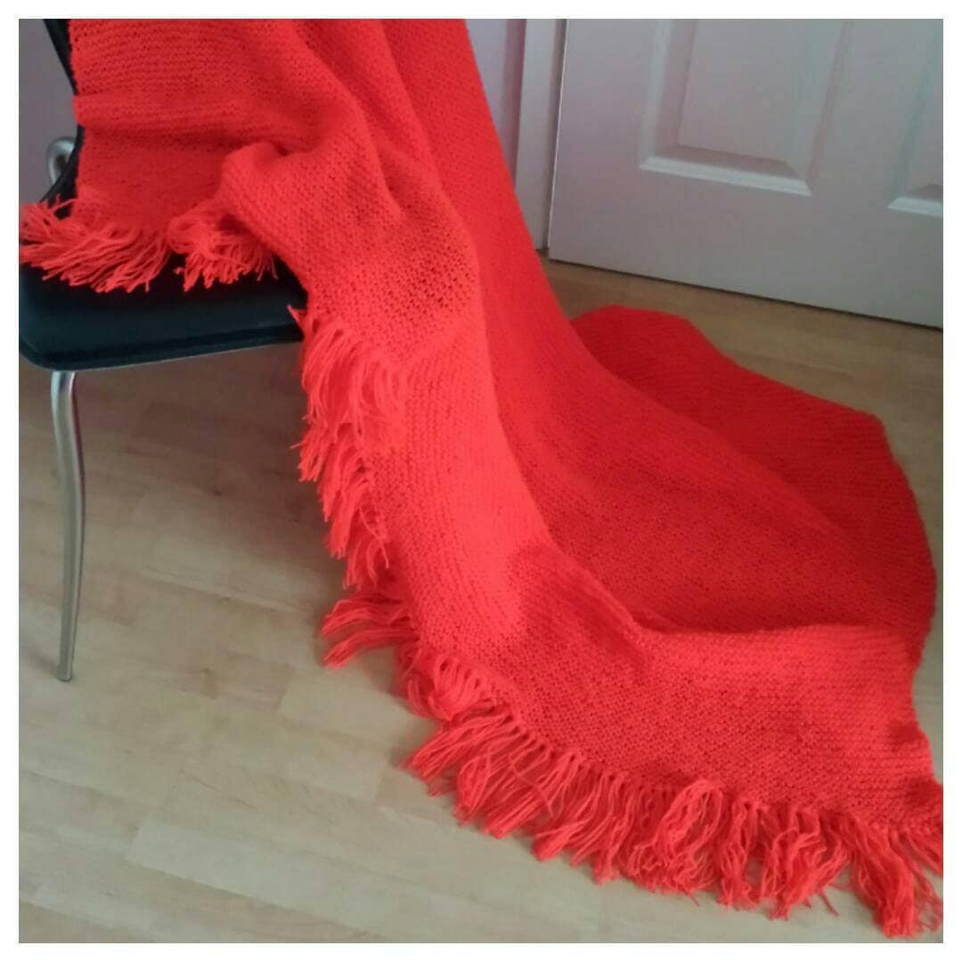 Red Blanket Throw Knitted Red Blanket Throw Hand Knitted Red