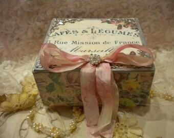 Vintage Paris / Shabby Chic Square Decorative Box