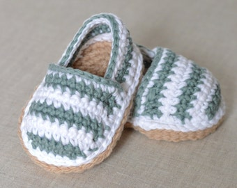 CROCHET Pattern Baby Shoes Espadrilles American and UK terms in ENGLISH Stripy Espadrilles pattern digital file instant download
