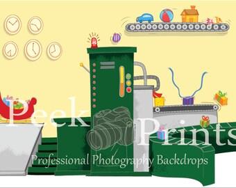 8ft.x6ft. Santa's Workshop- Vinyl Photography Backdrop- Perfect for Christmas Mini Sessions- Christmas Background- Christmas Backdrop