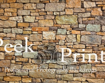 6ft.x4ft. Earth Stone Wall Vinyl Photography Backdrop - Rock Wall Background - Realistic Backdrop Item TR032