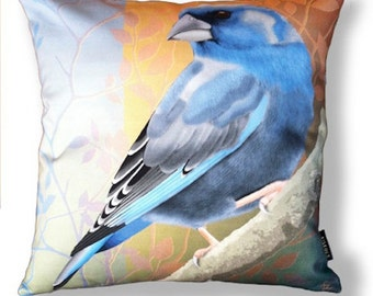 Bird pillow BLUEFINCH cotton cushion cover